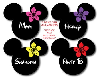 Disney Inspired Hawaiian Plumeria Mini Size Mouse Head Magnet - 6 Colors to Choose From