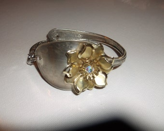 Vintage Spoon Silver plated bracelet with  rhinestone Flower Hand Crafted