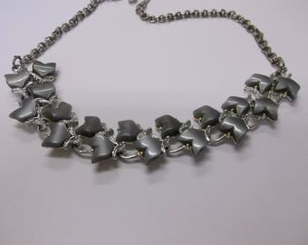 Vintage Moon-glow Lucite Thermostat choker necklace gray silver