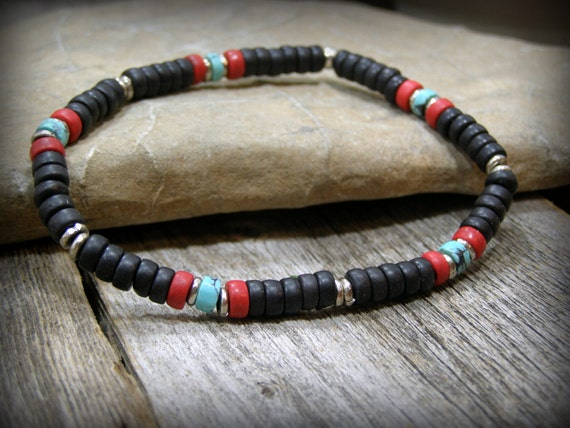 Mens beaded black stretch bracelet Native American inspired turquoise jewelry