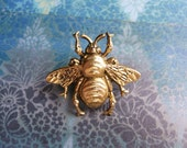 Bumble Bee - Antiqued Gold Plated Bumble Bee Brooch Lapel Pin or Tie Pin with Gift Box