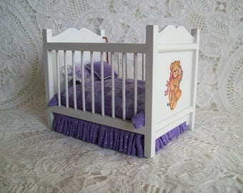One Inch Scale White Crib with Hand Pieced Quilt