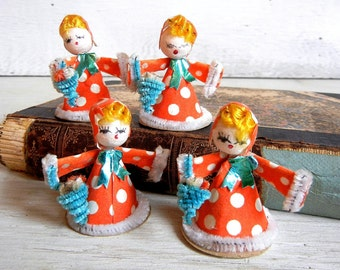 4 Vintage Spun Head Girls with Flower Baskets | Blond Spun Head Figurines | Spun Cotton Flower Girls