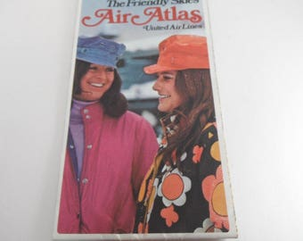 Vintage United Airlines Air Atlas 1970s Airline Map Vintage US Map The Friendly Skies Vintage Travel Skiing USA Facts Time Zones 1972 1973