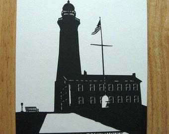 Montauk Point Lighthouse Paper Cut Silhouette Wall Art Wall Decor 9X12 Unframed
