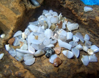 Blue Lace Agate tumbled mini chip stones - extra small tiny pebbles genuine natural crystal light cornflower periwinkle 2-5 mm - by the gram