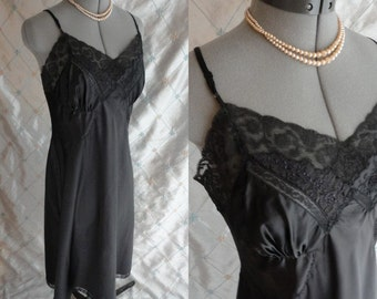 50s 60s Lingerie //  Vintage 1950's 1960's Black Satin Lace Slip by Barbizon Size M