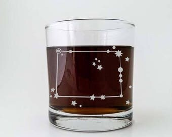 Colorado State Constellation Stars | Etched Cocktail Old Fashioned Glass