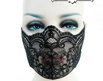 black lace, mask, fetish, lingerie, fantasy, cos play, medical fetish, play wear, burlesque, dust mask: Renegade Icon Designs