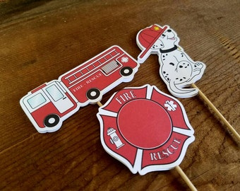 Fire Truck Party - Set of 12 Assorted Fire House Cupcake Toppers by The Birthday House