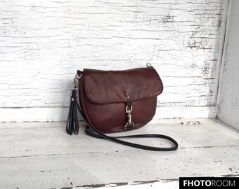 Small Brown & Black Leather Cross Body Purse, Messenger Bag, Shoulder Bag
