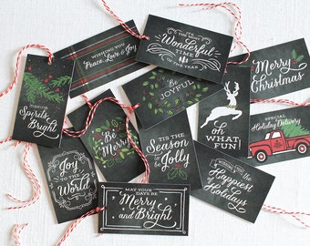 Rustic christmas gift tags, gift tags christmas, chalkboard gift tags, christmas gift labels, christmas packaging, set of 12, ready to ship