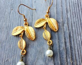 Earrings Ivory Pearl Leaf Earrings. Gold Pearl Dangle Earrings. Gold Leaf Jewelry. Pearl and Gold Jewelry. Jewelry Gift For Her.