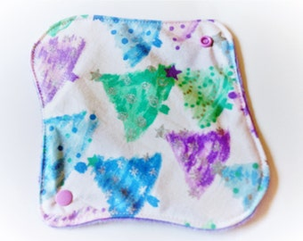 One 8 Inch Minky Topped Winged Cloth Menstrual Pad - PUL - Sparkly Christmas Trees