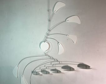 White Calder Inspired Mobile - Ready to Ship - Small Arrow Style Hanging Mobile in White for the Nursery Playroom or Office