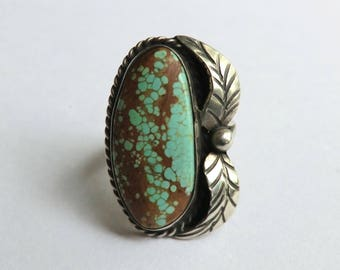 Vintage Sterling Turquoise Ring Bohemian Fashion Southwest Beautiful Coloring