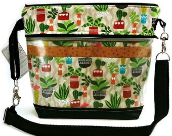 Travel Project Bag Case - Needle & Hook Tool Organizer - Sweet Succulants