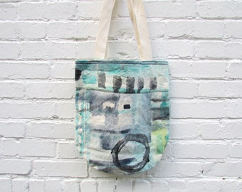 the aquatic circle tote ... one of a kind, hand painted cotton canvas tote