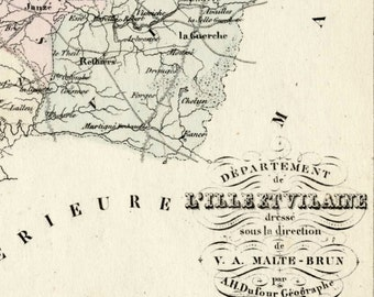 Antique Map of Ille et Vilaine, France - With Inset of Rennes - Handcolored - 1800s French Vintage Map