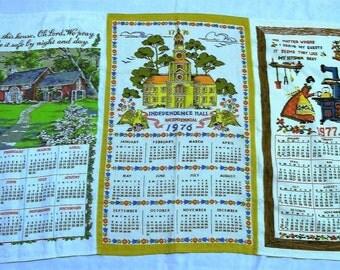 Vintage Calendar Towels, Three Tea Towels, Kitchen Towel, Wall Hanging, Vintage Dish Towel, Vintage Kitchen, Vintage Linens