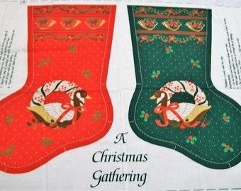 Christmas Stocking Panel, A Christmas Gathering Stocking, Country Goose, Country Style Christmas Stocking, Christmas Stocking to Make