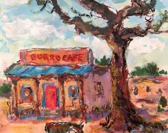 Burro Cafe,  Southwest Art original painting, Santa Fe, New Mexico, Russ Potak