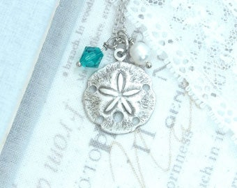 Silver Sand Dollar Necklace Nautical Jewelry Ocean Charm Necklace Sand Dollar Jewelry Ocean Gift