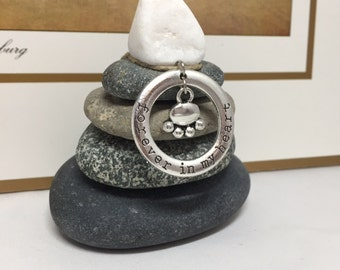 Forever in my Heart Rock Cairn, Desk Gift, Loss, I Miss my Dog, Deceased Pet, Dog Remembrance Memorial Pet Sympathy, Paw. Loved one
