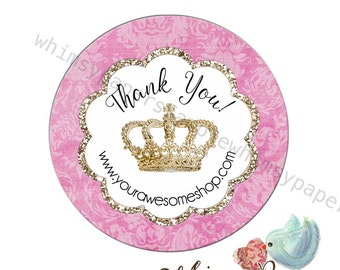 Personalized Labels,  Crown stickers, Princess Stickers