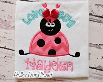 Valentines Love bug Ladybug personalized Valentine bodysuit