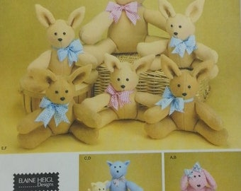 Elaine Heigl Designs Soft Sculpture Bunny Pattern Two Piece Animals in Two Sizes Simplicity 3779 Fleece Animal Toys