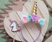 Unicorn Headband | Gold Horn and Pastel Flowers | Costume, photo prop, dress up, party
