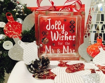 "Christmas Wedding Guest Book Wish Block - Glass with ""Jolly Wishes for the Mr. & Mrs."" - Personalized - Paper Ornaments in Silvers Reds"