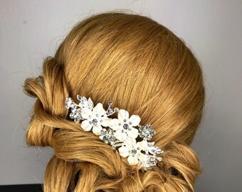 Bridal Comb,Crystal,Floral Rhinestone Hair Comb