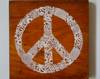 Peace Sign-Upcycled hand stamped wall art-ready to hang -Recycled Repurposed Wood-hand printed peace sign