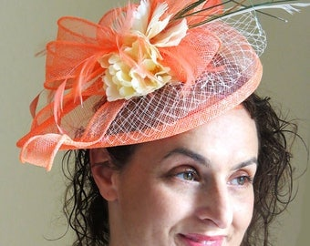 Coral  Fascinator - Salmon Fascinator Ivory Flower Veil Wedding Hat ESTI CORAL