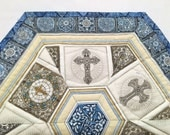 Religious Quilted Table Topper, Blue Religious Candle Mat - Dan Morris Heavenly Fabric- Easter Hexagon Table Runner Quilt