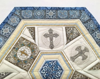 Religious Quilted Table Topper, Blue Religious Candle Mat - Dan Morris Heavenly Fabric- Easter Table Runner Quilt