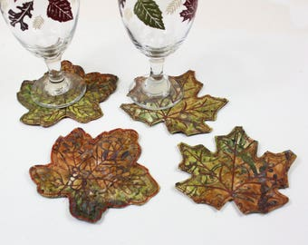 Set of FOUR BATIK Leaf Coasters, Quilted Fall Coasters, Autumn Wedding Table Decor, Raw Edge Leaves Machine Embroidered Thanksgiving Decor