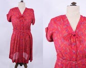 SALE /// 1950s dress vintage 50s Korell plus size sheer red novelty print dress XL