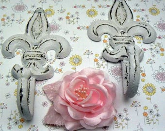 Fleur de lis Cast Iron FDL Shabby Chic White Pair Set Wall Hooks Home Decor