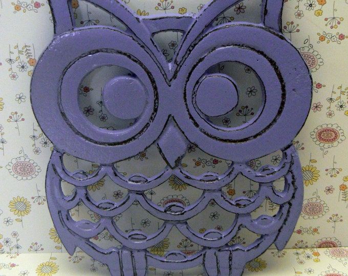 Cast Iron Owl Trivet Purple Lavender Shabby Chic Woodland Kitchen Hot Plate Home Decor