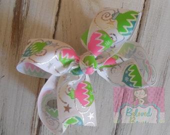 Pink Green and Silver Ornament Basic Hair Bow, Christmas Hair Bow, Holiday Hair Bow