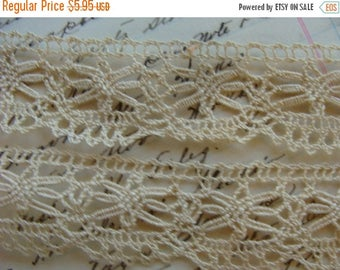 ONSALE Vintage French Cotton Lace Yardage Stunning Tea color