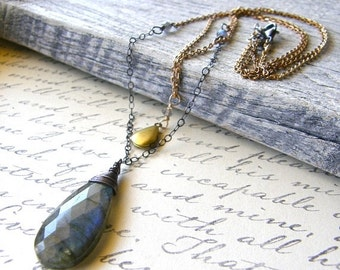 20% OFF Double Strand Locket Necklace, Labradorite Necklace, Mixed Metals Necklace, Pendant Necklace