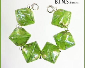 Lampwork Beads, 6pc Silvered Lime Green Bicone Lampwork Glass Beads, Lampwork, Bims Bangles, Made to Order, Silver Foil on Lime Bicones