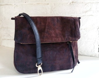 Vegan Crossbody Bag in Dark Brown Faux Suede, Vegan Bag, Crossbody Bag