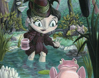 Frog's Breath - 8x10 Inch Witch with Frog - Archival Digital Print