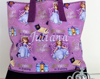 Sofia Princess in Training Child Tote / School Tote / Book Travel Bag / Overnight Bag / Embroidered with Childs name