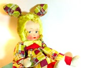 "Antique ""NANCY LOU Doll Bunny""/GUND Bunny Ears Doll/Painted Cloth Face/WW2 Era Doll/Gund Mfg./ Swedlin Inc./ Collectible Rare Doll"